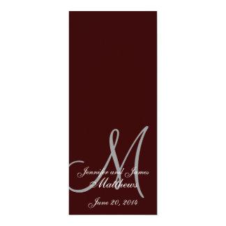 Wedding Church Program Monogram Brown & White 4x9.25 Paper Invitation Card