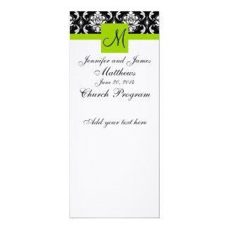 "Wedding Church Program Monogram Damask Green 4"" X 9.25"" Invitation Card"