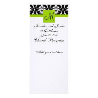Wedding Church Program Monogram Damask Green Personalized Invitation