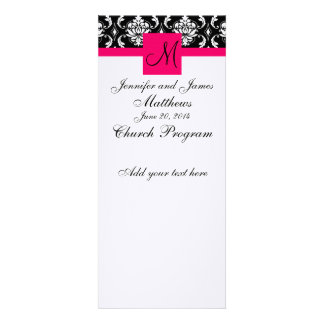 Wedding Church Program Monogram Damask Hot Pink Announcements