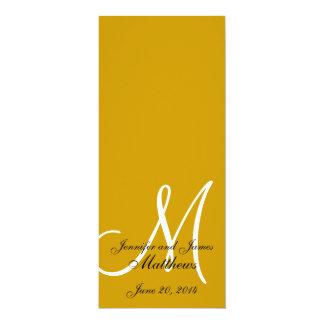 "Wedding Church Program Monogram Gold & White 4"" X 9.25"" Invitation Card"