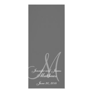"Wedding Church Program Monogram Grey & White 4"" X 9.25"" Invitation Card"