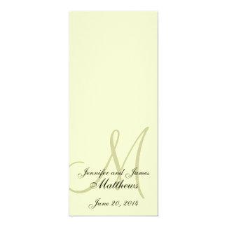 "Wedding Church Program Monogram Ivory Cream 4"" X 9.25"" Invitation Card"