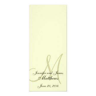 Wedding Church Program Monogram Ivory Cream 4x9.25 Paper Invitation Card