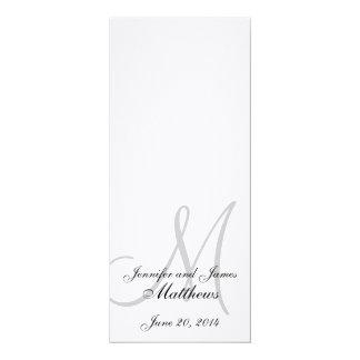 "Wedding Church Program Monogram Linen White 4"" X 9.25"" Invitation Card"