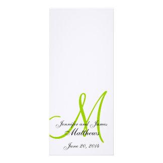 Wedding Church Program Monogram Linen White Green Personalized Invite