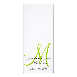 "Wedding Church Program Monogram Linen White Green 4"" X 9.25"" Invitation Card"