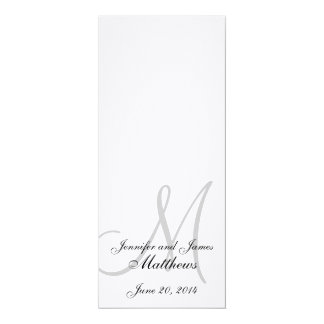 Wedding Church Program Monogram Linen White 4x9.25 Paper Invitation Card