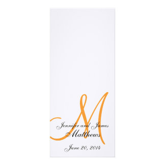 Wedding Church Program Monogram Linen White Orange Announcements