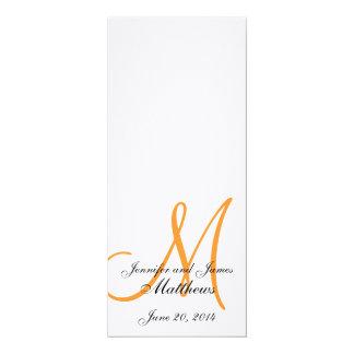 "Wedding Church Program Monogram Linen White Orange 4"" X 9.25"" Invitation Card"