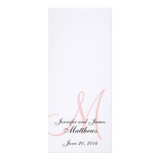 Wedding Church Program Monogram Linen White Pink Invitation
