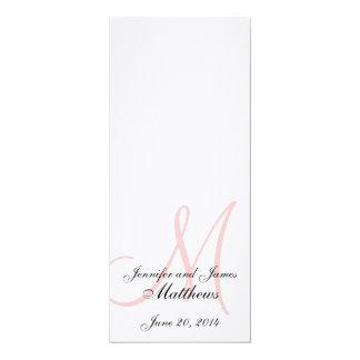 "Wedding Church Program Monogram Linen White Pink 4"" X 9.25"" Invitation Card"