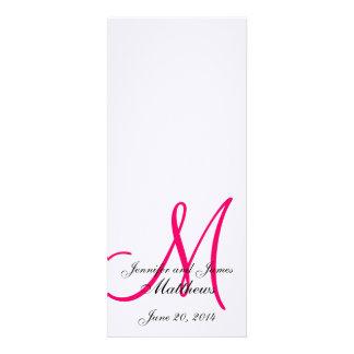 Wedding Church Program Monogram Linen White Pink Personalized Announcements