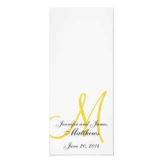 "Wedding Church Program Monogram Linen White Yellow 4"" X 9.25"" Invitation Card"