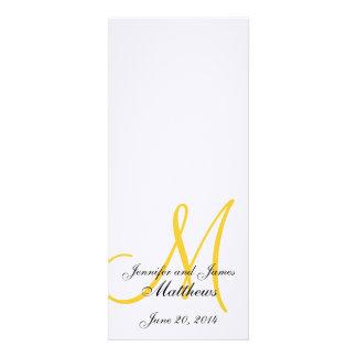 Wedding Church Program Monogram Linen White Yellow Custom Announcements