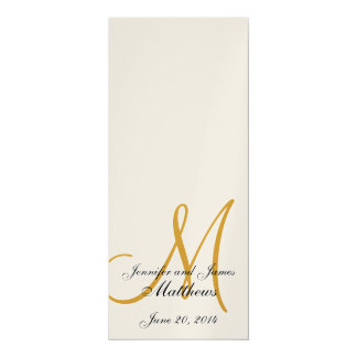 "Wedding Church Program Monogram Metallic Gold 4"" X 9.25"" Invitation Card"