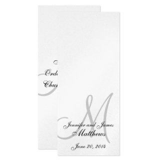 "Wedding Church Program Monogram Metallic Silver 4"" X 9.25"" Invitation Card"
