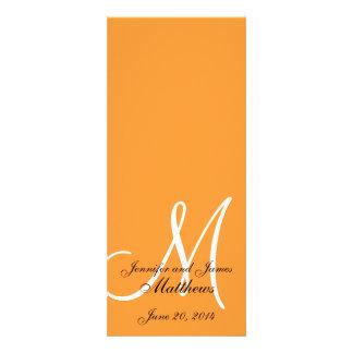 Wedding Church Program Monogram Orange & White Invitations