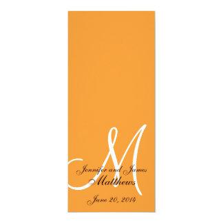 "Wedding Church Program Monogram Orange & White 4"" X 9.25"" Invitation Card"