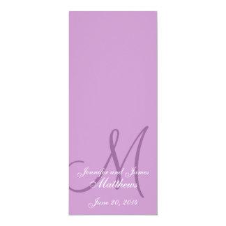 "Wedding Church Program Monogram Purple & White 4"" X 9.25"" Invitation Card"