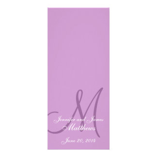 Wedding Church Program Monogram Purple White Custom Announcements