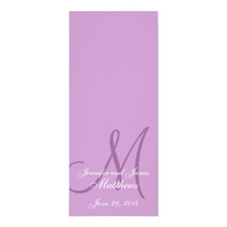 Wedding Church Program Monogram Purple & White Custom Announcements