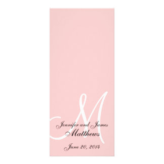 Wedding Church Program Monogram Soft Pink & White Personalized Invites