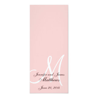 "Wedding Church Program Monogram Soft Pink & White 4"" X 9.25"" Invitation Card"