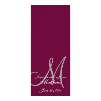 "Wedding Church Program Monogram Wine & White 4"" X 9.25"" Invitation Card"
