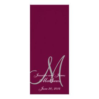 Wedding Church Program Monogram Wine & White Announcements