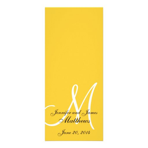 Wedding Church Program Monogram Yellow  & White Personalized Announcements