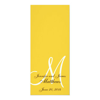 Wedding Church Program Monogram Yellow  & White 4x9.25 Paper Invitation Card