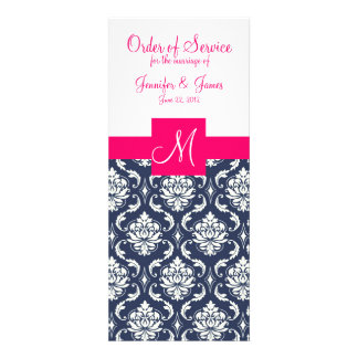 Wedding Church Programs Elegant Pink Blue Damask Personalized Announcements