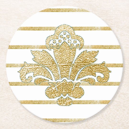 Wedding Coaster Faux Gold Damask TEAL
