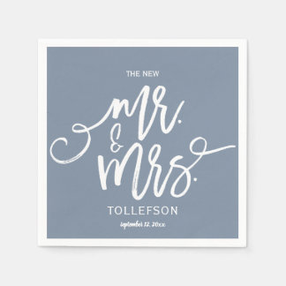 Wedding Cocktail Napkins | Typography (Dusty Blue)