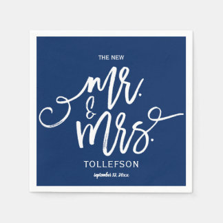 Wedding Cocktail Napkins | Typography (Navy Blue)