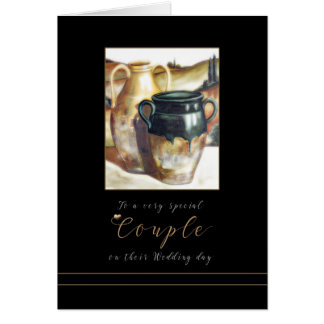 Wedding Congratulations Painted Pottery card