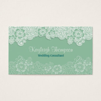 Wedding Consultant - Mint Lace Business Card