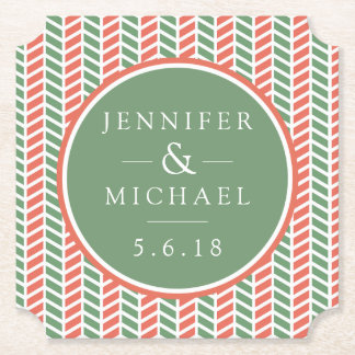 Wedding | Coral & Green Paper Coaster