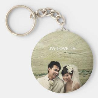 Wedding couple basic round button keychain