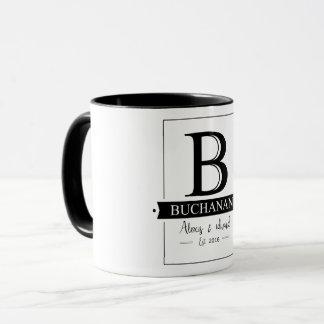 Wedding couple black vintage letter B Buchanan Mug