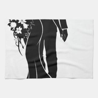 Wedding Couple Bride and Groom Silhouette Hand Towel