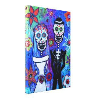 Wedding Couple Dia de los Muertos Canvas Print