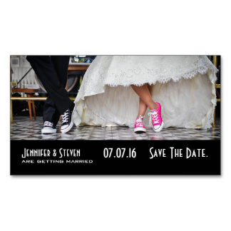 Wedding Couple in a Fifties Diner Save the Date Magnetic Business Card