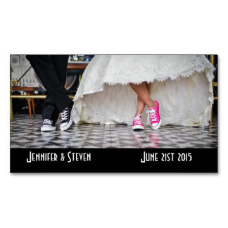 Wedding Couple in a Retro Style Fifties Diner Magnetic Business Card