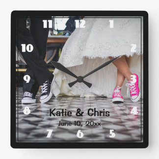 Wedding Couple in a Retro Style Fifties Diner Square Wall Clock