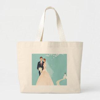 wedding couple large tote bag