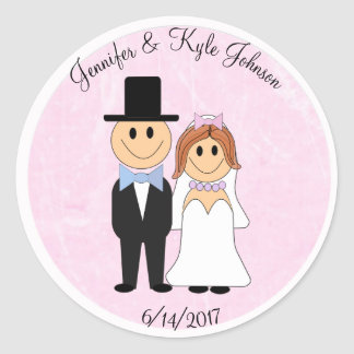 Wedding Couple Pink Personalized Wedding Date Classic Round Sticker