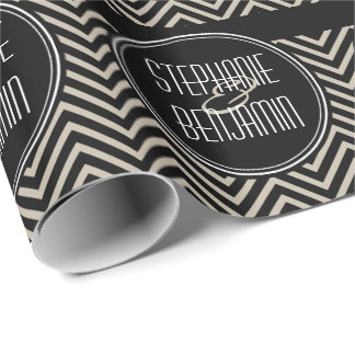 Wedding Couple with Black and Beige Chevrons Wrapping Paper