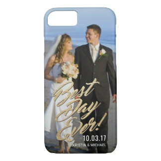Wedding Couples Best Day Ever Gold Script Overlay Case-Mate iPhone Case